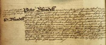 Peter Blundell's Gift to the Clothworkers' Company,  Book of Deeds and Wills, 1599