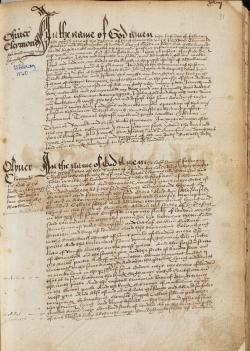 Oliver Claymond's Will, Book of Deeds and Wills, 1540