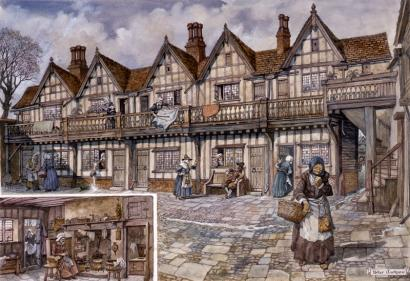 Conjectural drawing of Whitefriars almshouses by Peter Jackson based on Treswell