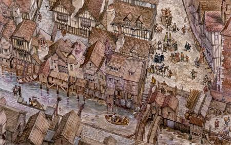 Conjectural drawing of Fleet Lane area by Peter Jackson