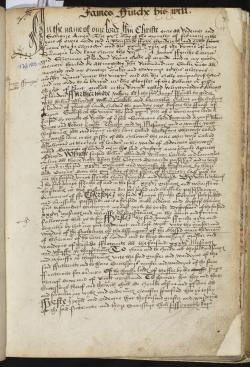 James Finch's Will, Book of Deeds and Wills, 1508