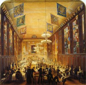 Livery Hall in the fourth Clothworkers' Hall, c.1856 watercolour by P.W. Justyne