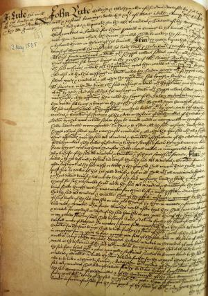 John Lute's Will, Book of Deeds and Wills, 1585
