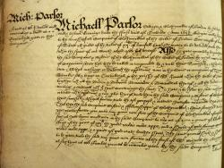 Michael Parlor's Gift, Book of Deeds and Wills, 1603