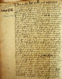 Robert Peele's Will, Book of Deeds and Wills, 1538