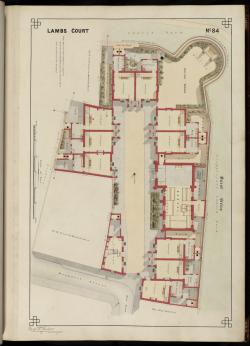 Plan of Lambe's College [i.e. Heath almshouses] at Monkwell Street, early 1870s