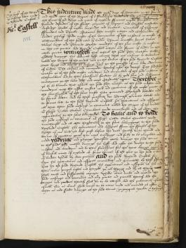 Lease of a property at Basing Lane, granted to Richard Castell, Book of Deeds and Wills, 1555