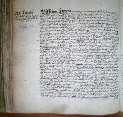 William Heron's Will, Book of Deeds and Wills, 1580
